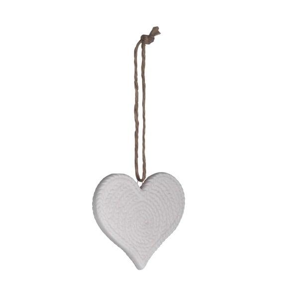 Set šesti keramických srdcí, bílá
