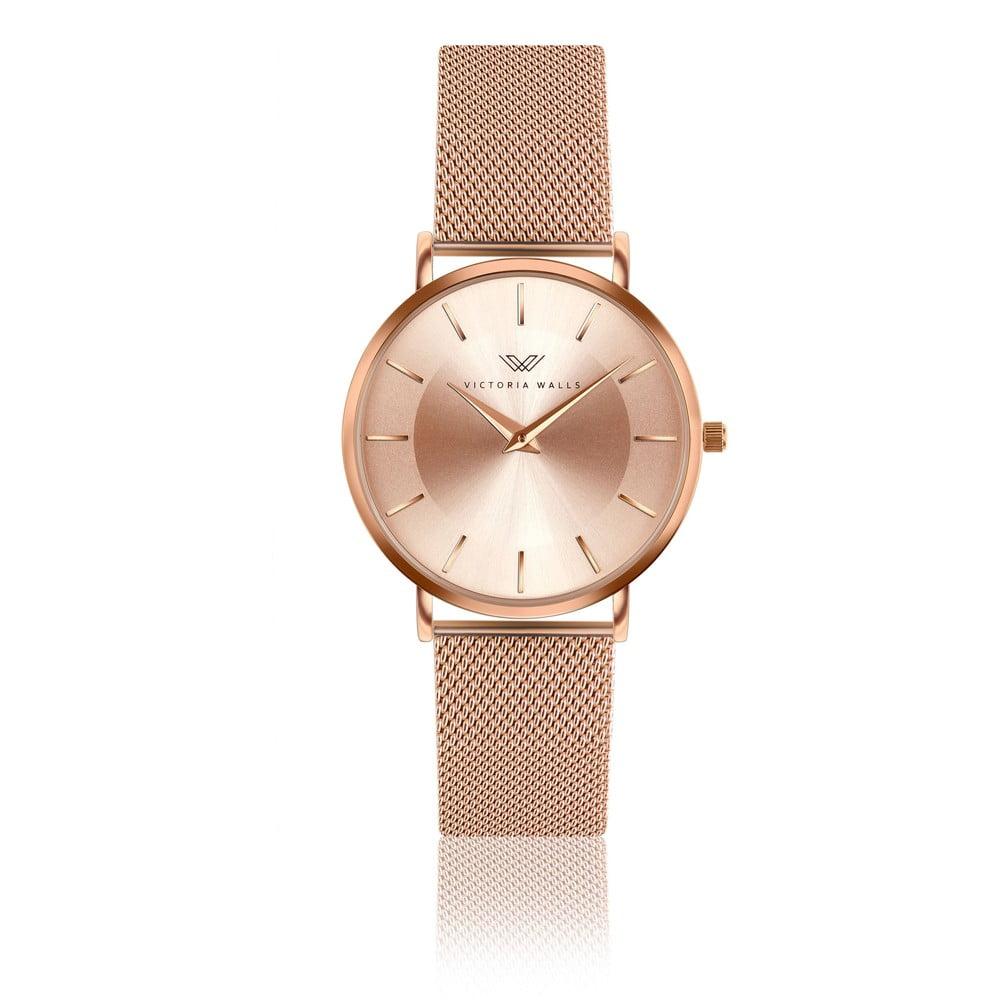 Dámské hodinky s páskem z nerezové oceli v růžovozlaté barvě Victoria Walls Emma