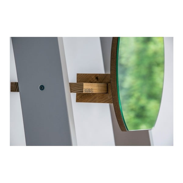 Bílá dřevěná opěrná police se zrcadlem Ragaba Ashme Ladder