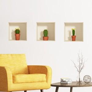 Set 3 autocolante Ambiance cu efect 3D Ambiance Cactus