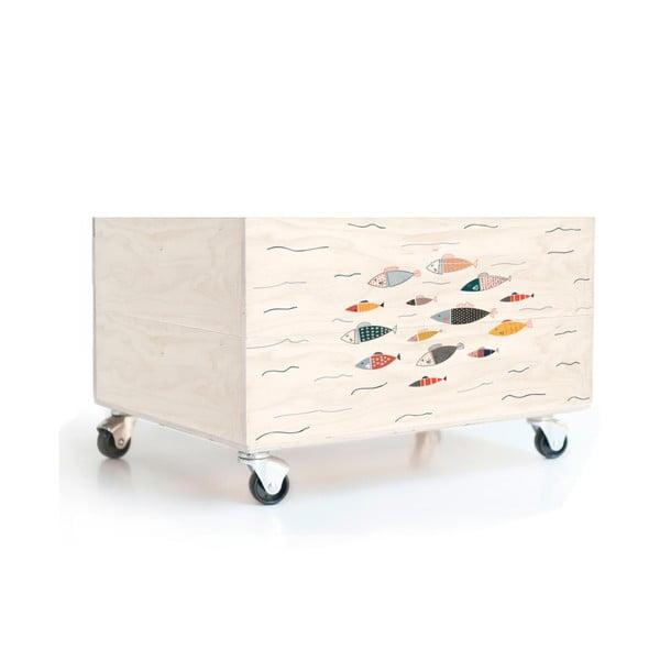 Dřevěná krabice na kolečkách Little Nice Things Swim