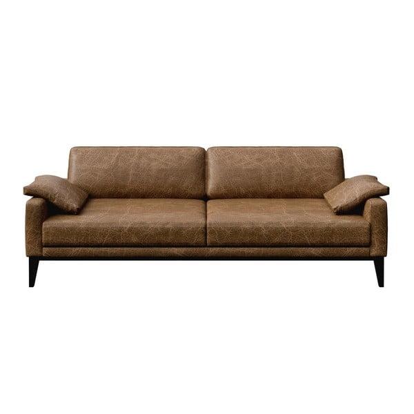 Canapea din piele cu 3 locuri MESONICA Musso, maro
