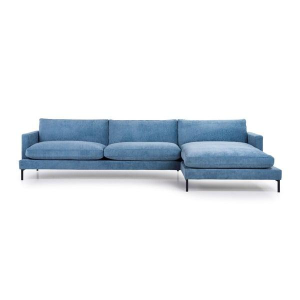 Bledě modrá třímístná pohovka s lenoškou na pravé straně Softnord Leken