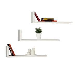 Sada 3 bílých nástěnných knižních polic Homemania L Model