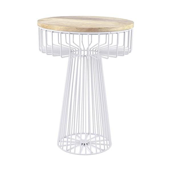 Bílý stolek se snímatelnou deskou z mangového dřeva HF Living Spore