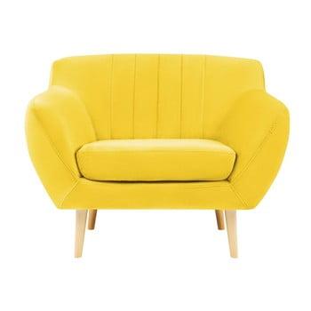 Fotoliu cu picioare de culoare deschisă Mazzini Sofas Sardaigne, galben