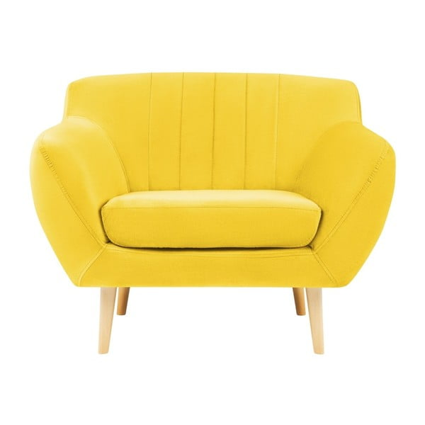 Żółty fotel z jasnymi nogami Mazzini Sofas Sardaigne