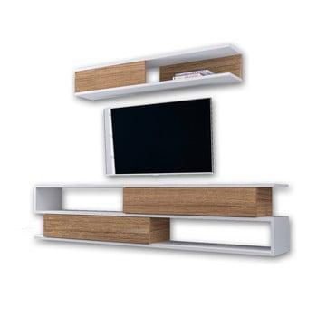 Set comodă TV și raft de perete în decor de lemn de nuc Manyetik, alb de la Furny Home
