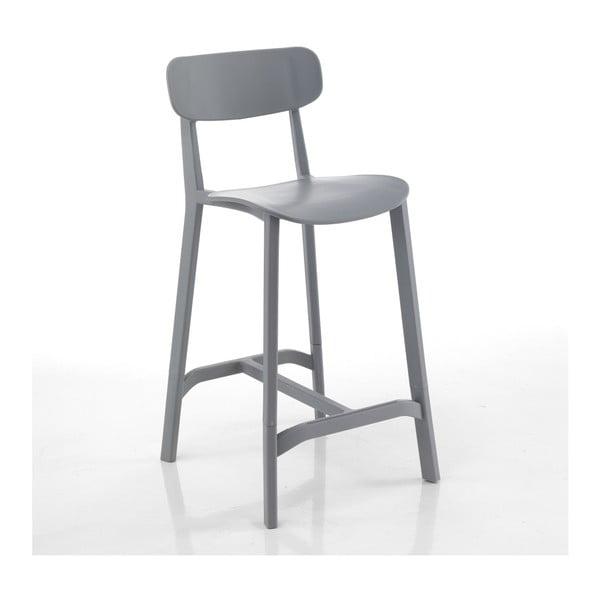 Sada 2 šedých barových židlí vhodných do exteriéru Tomasucci Mara