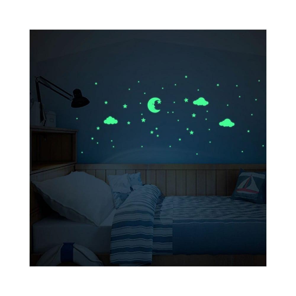 Svítící samolepky na zeď Ambiance Moon and Clouds