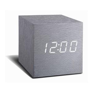 Ceas deșteptător cu LED Gingko Cube Click Clock, gri - alb