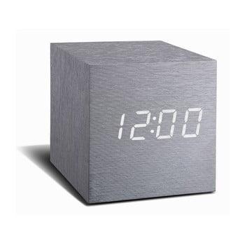 Ceas deșteptător cu LED Gingko Cube Click Clock, gri – alb de la Gingko
