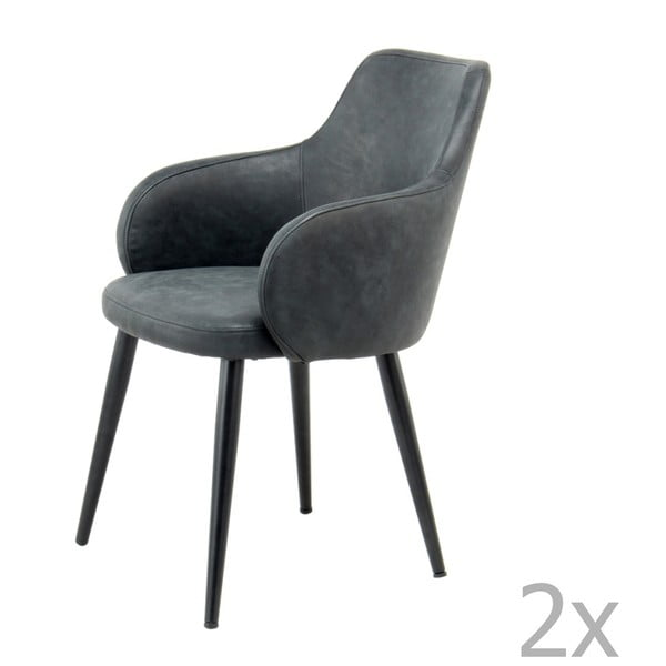 Komplet 2 czarnych krzeseł 360 Living Silas