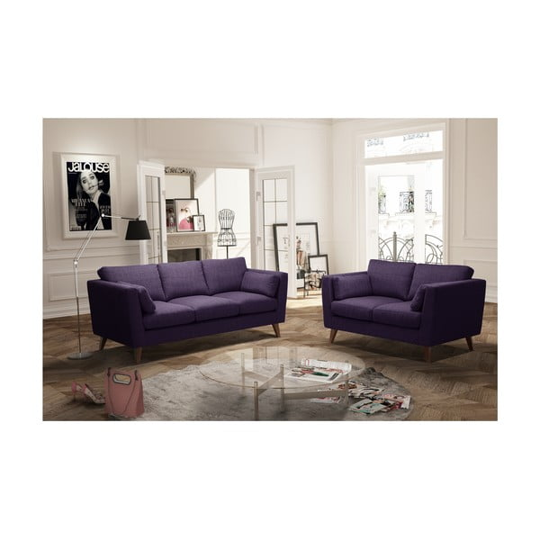 Sada fialové dvoumístné a trojmístné pohovky Jalouse Maison Elisa