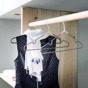 Sada 3 šedobílých ramínek s kalhotovou tyčí Compactor Hang