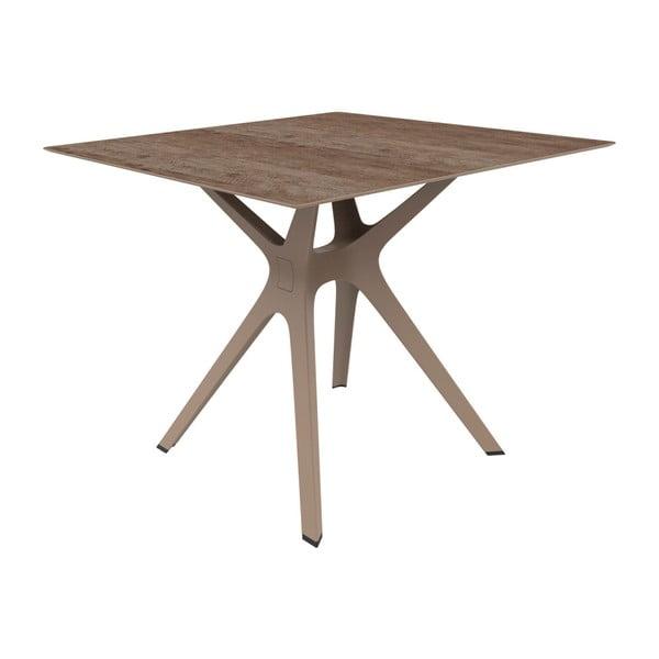 Hnědý jídelní stůl vhodný do exteriéru Resol Vela, 90 x 90 cm