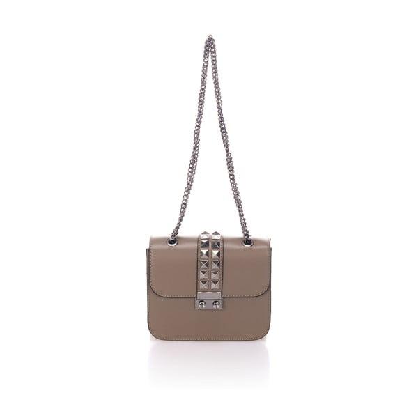 Béžová kožená kabelka se stříbrným řetízkem Giulia Massari
