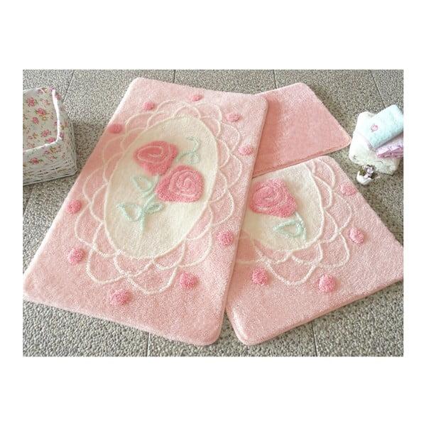 Knit Knot 3 darabos rózsaszín fürdőszobai kilépő szett rózsa motívummal