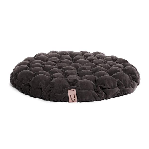 Hnědošedý sedací polštářek s masážními míčky Linda Vrňáková Bloom, Ø75cm