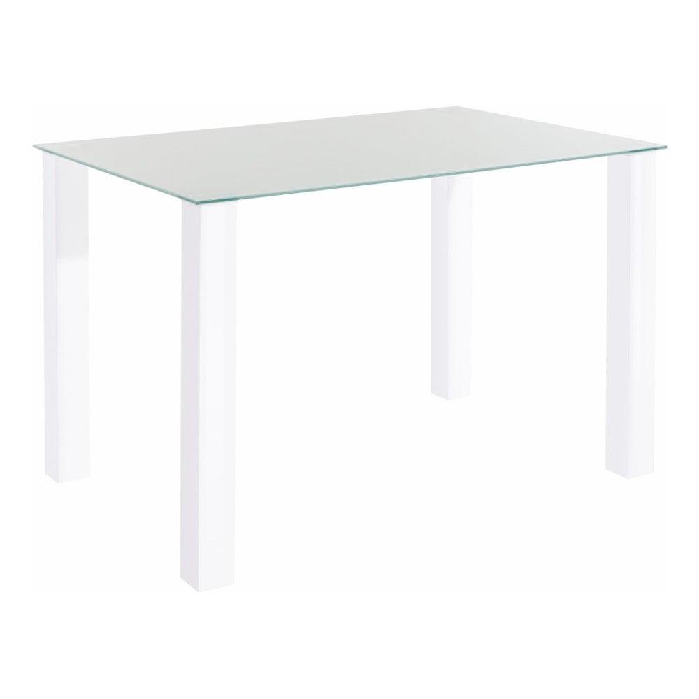 Lesklý bílý jídelní stůl s deskou z tvrzeného skla Støraa Dante, 80 x 120 cm