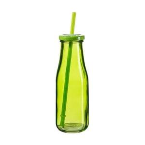 Zelená lahev s víčkem a brčkem SUMMER FUN II BUNT, 440ml