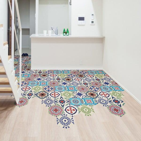 Sada 10 samolepek na podlahu Ambiance Floor Stickers Hexagons Hannah, 40 x 90 cm