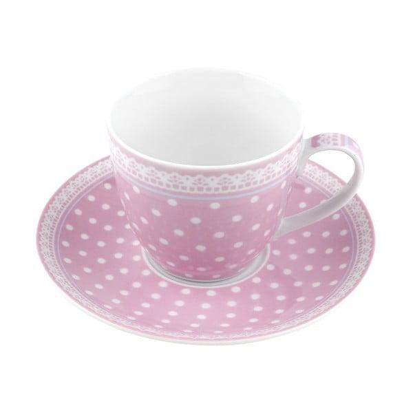 Porcelánový šálek s podšálkem Dots, růžový 4 ks