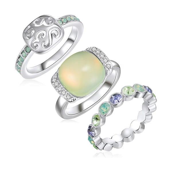 Sada 3 prstenů s krystaly Swarovski Lilly & Chloe Océane, vel. 60