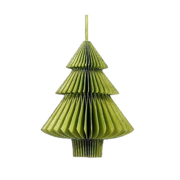 Decorațiune din hârtie pentru Crăciun, formă brad Only Natural, lungime 10 cm, verde