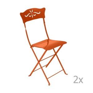 Sada 2 oranžových skládacích zahradních židlí Fermob Bagatelle