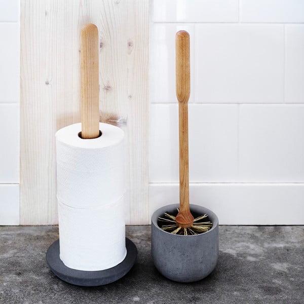 Toaletní kartáč s miskou z hnědého betonu Iris Hantverk