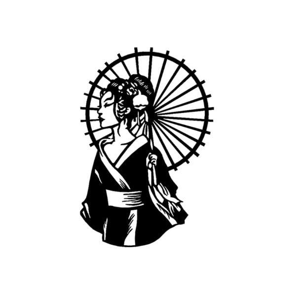 Černá kovová nástěnná dekorace Geisha, 35 x 52 cm