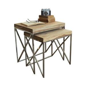 Sada 2 stolků s deskou z palisandrového dřeva Orchidea Milano Geometrical