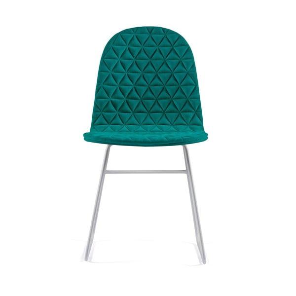 Tyrkysová stolička s kovovými nohami IKER Mannequin V Triangle