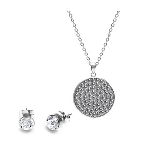 Sada stříbrného náhrdelníku a náušnic se Swarovski krystaly GemSeller Molle