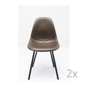 Sada 2 šedých jídelních židlí s ocelovou konstrukcí Kare Design Lounge