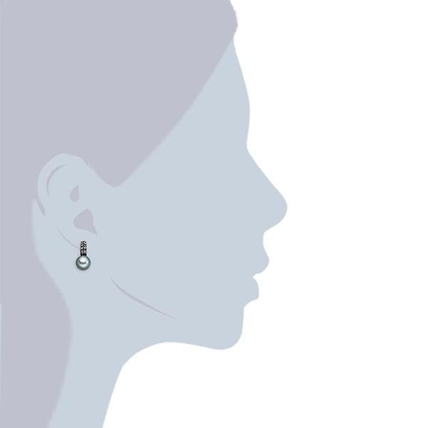 Náušnice s antracitově černou perlou Perldesse Aso,⌀1cm