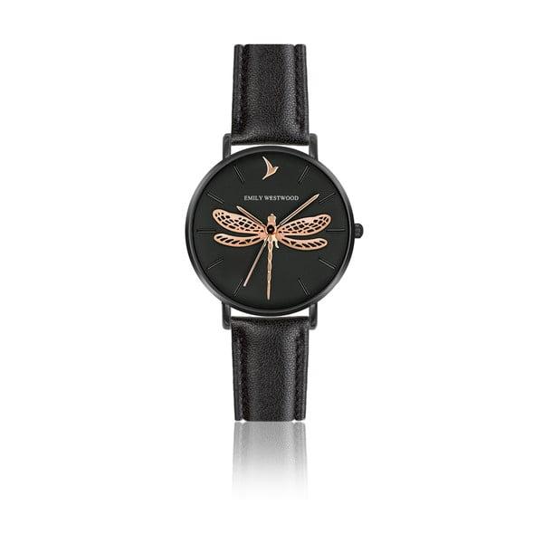 Dámske hodinky s remienkom z pravej kože v čiernej farbe Emily Westwood Fly