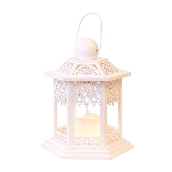 LED lucerna Christmas 20 cm, krémová