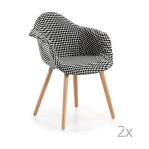 Sada 2 černobílých jídelních židlí La Forma Kenna