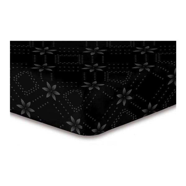 Cearșaf cu elastic, din microfibră DecoKing Hypnosis Snowynight, 200 x 220 cm, negru