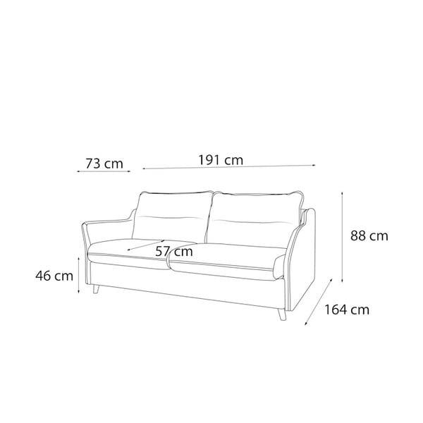 Canapea extensibilă cu 3 locuri Bobochic Paris Loft, mov