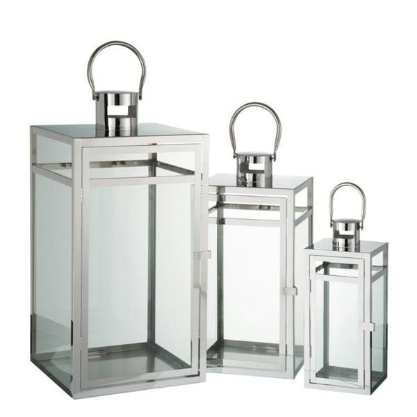 Sada 3 kovových luceren J-Line, 12,5x12,5x30,5 cm