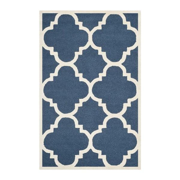 Vlněný koberec Clark Blue, 91x152 cm