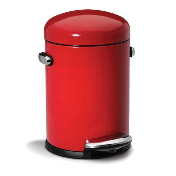 Červený pedálový koš simplehuman Retro, 4.5 l