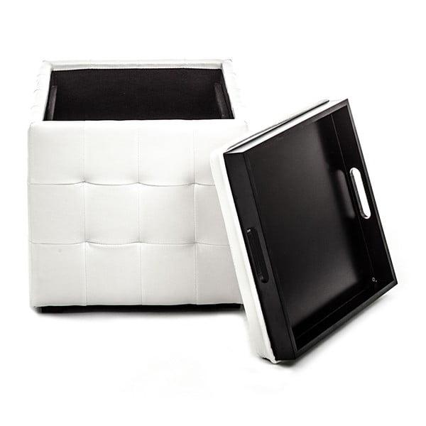 Bílý puf s úložným prostorem Tomasucci Case