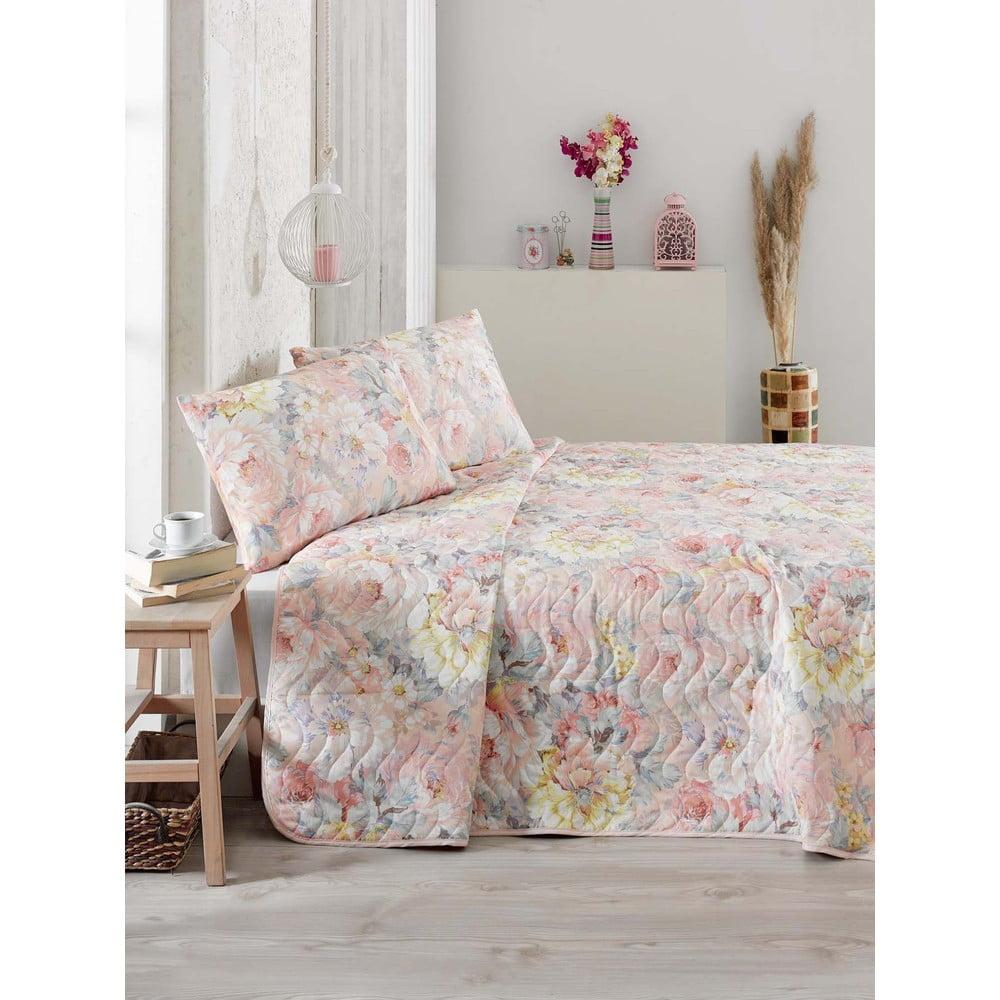 Prošívaný přehoz přes postel se 2 povlaky na polštáře Salmon, 200 x 220 cm