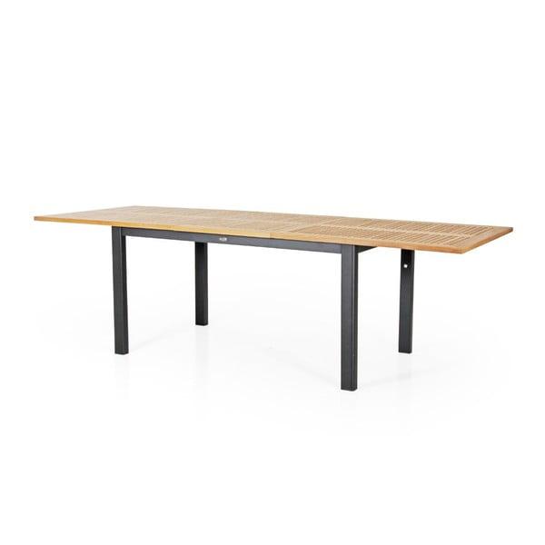 Teakový zahradní stůl s černým podnožím Brafab Lyon, 194x92cm