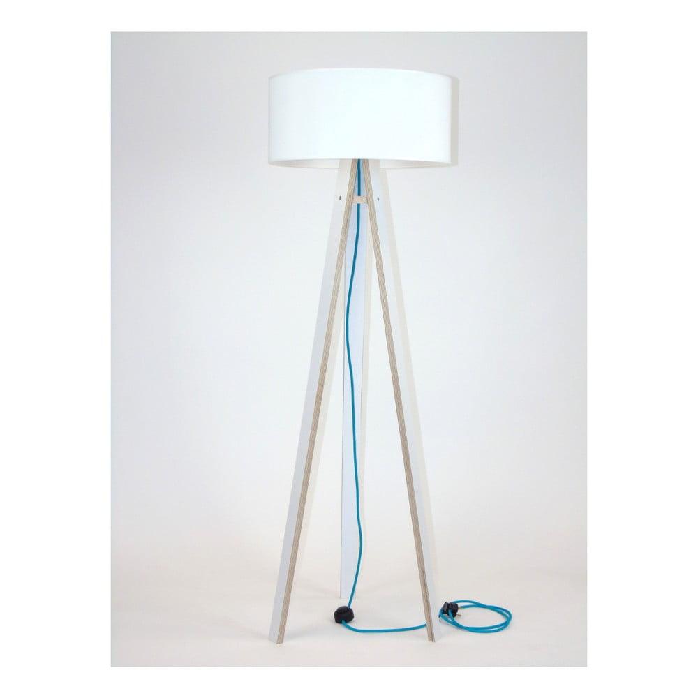 Bílá stojací lampa s bílým stínítkem a tyrkysovým kabelem Ragaba Wanda