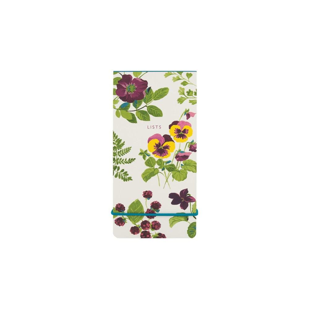 Linkovaný poznámkový blok s elastickou gumou Laura Ashley Parma Violets by Portico Designs, 100 stránek